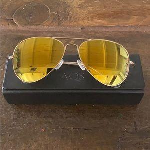 AQS Aviator frame mirror sunglasses